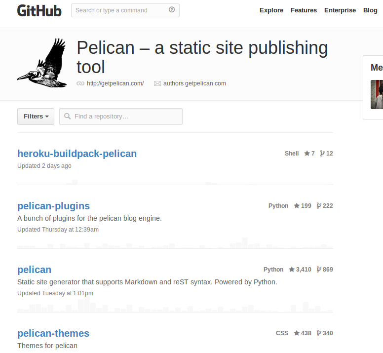 Pelican a static site publishing tool